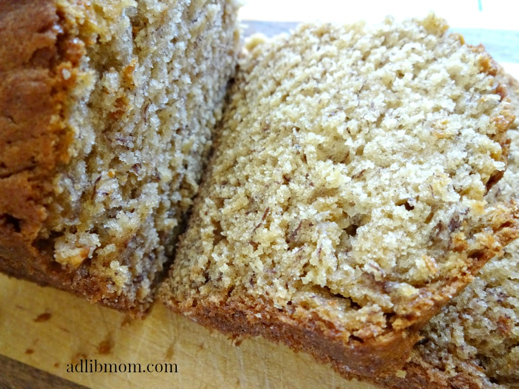 Banana bread that is light in texture and lower in sugar i